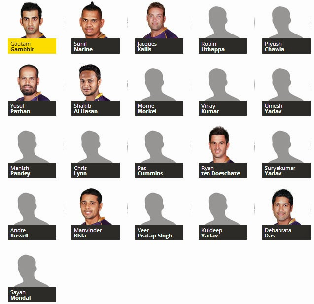 Kolkata Knight Riders team for IPL 2014