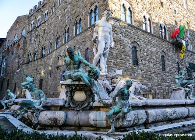 Florença: Fonte de Netuno, na Piazza della Signoria