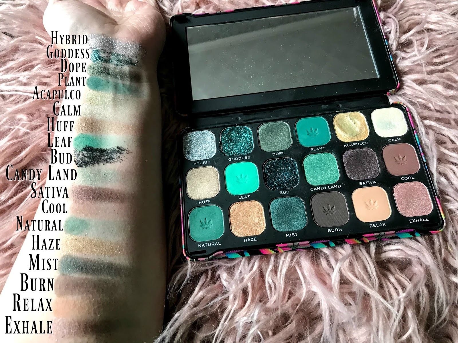 Revolution Forever Flawless Chilled with Cannabis Sativa Palette swatches