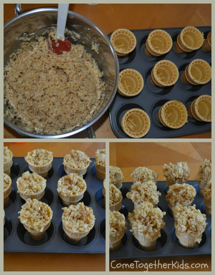 ... of the rice krispie mixture to form the top ice cream part of the cone