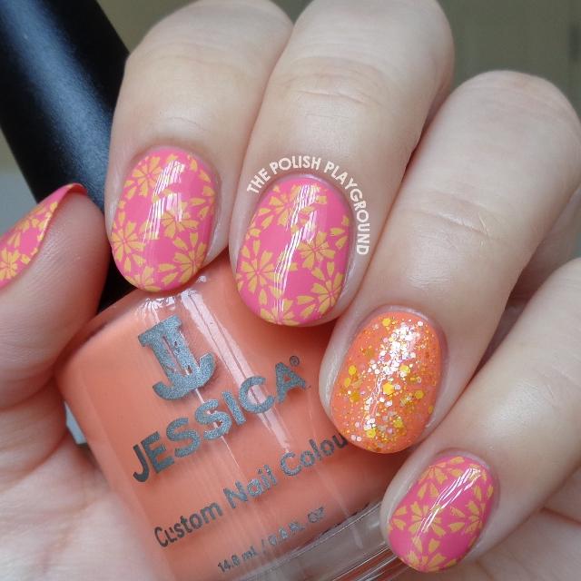 Spring Like Floral Pattern Stamping Nail Art