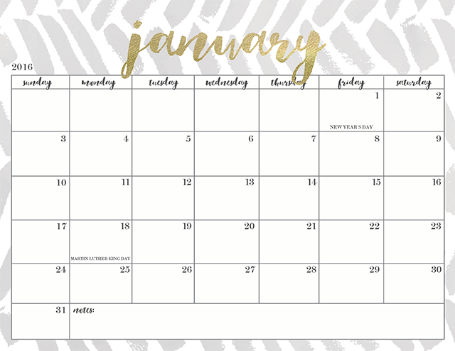 Black And Gold Desk Calendar Cute January Calendar 2017