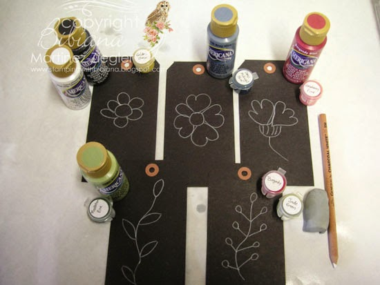 flowers for  painted wood easel with DecoArt paints