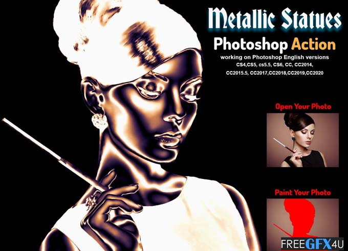 Metallic Statues Photoshop Action