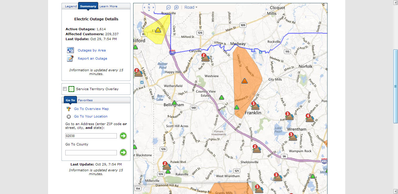 Franklin Matters: nationalgrid Power Outage map   8:30 PM 10/29/12