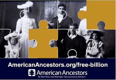 American Ancestors by NEHGS Announces an Unprecedented, Historic Event for Genealogists: A BILLION Records FREE!