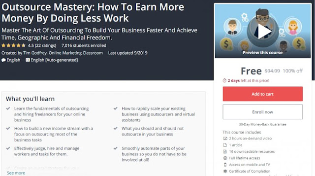 [100% Off] Outsource Mastery: How To Earn More Money By Doing Less Work| Worth 94,99$
