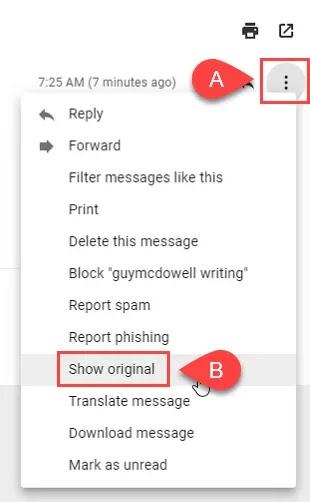 كيفية معرفة الموقع المرسل منه البريد الإلكتروني Gmail عبر عنوان IP