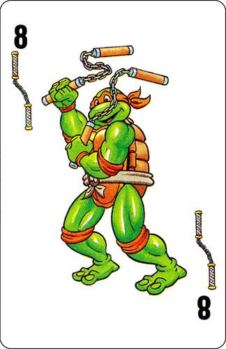 Baraja infantil Las Tortugas Ninja Fournier Carta Michelangelo 8