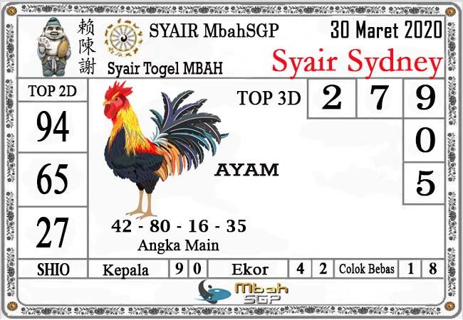 Prediksi Togel Sidney Senin 30 Maret 2020 - Syair Mbah SDY