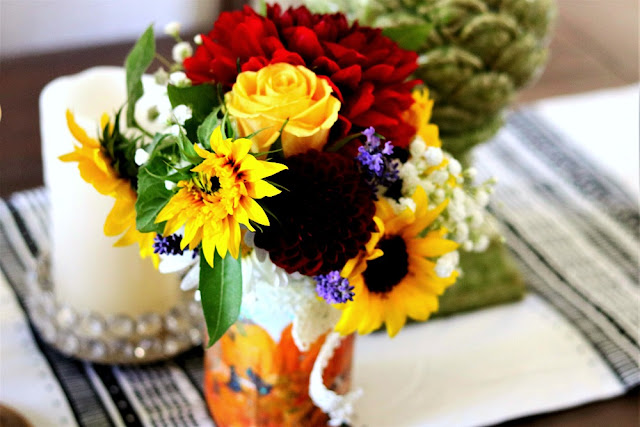 Lavender, sunflowers, daisies, dahlias, baby's breath, bouquet