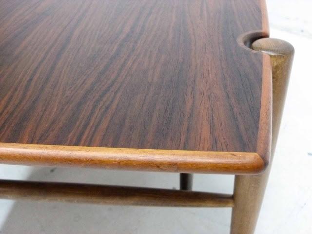 Dux Teak Walnut Cane Shelf Surfboard Coffee Table Sculptural Legs