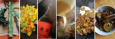 Zubereitung Paprika und Wosun aus dem Wok mit Fleisch