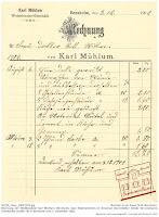 Rechnung des Weißbindermeisters Carl Mühlum aus Bensheim von 1902 über Arbeiten im Innenbereich des Anwesens Darmstädter Straße 50 in Bensheim.