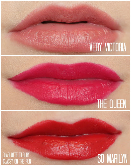 charlotte tilbury the queen swatch very victoria swatch so marilyn swatch
