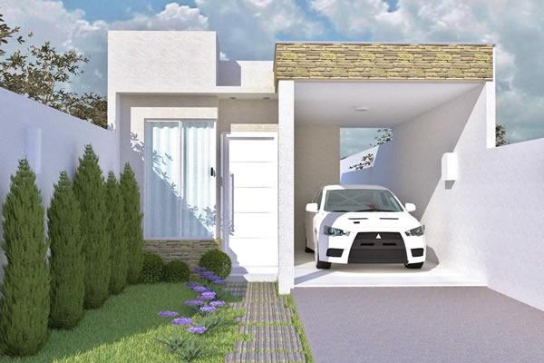 Construindo minha casa clean fachadas de casas quadradas for Modelos de fachadas para frentes de casas
