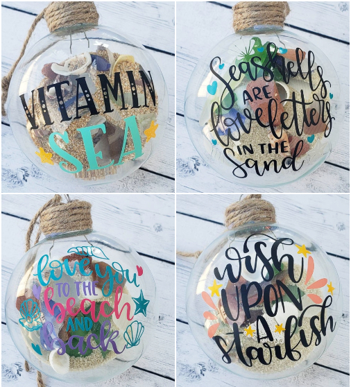 Beach Filled Globe Christmas Ornaments
