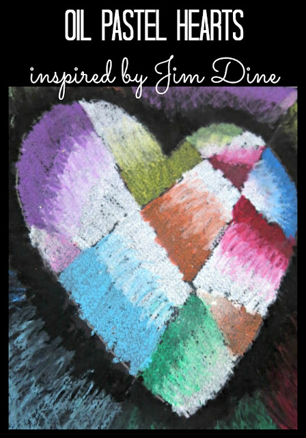 Oil Pastel Hearts Inspired by Jim Dine (4th grade)
