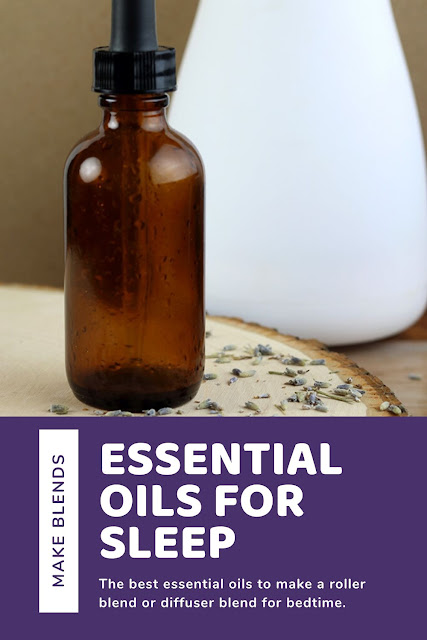 The best essential oils for sleep. This is a list of EOs to use, including vetiver and lavender, and how to use them. Learn to make your own blend or roller with these recipes. There are kid safe blend for kids or make a roller for kids. Diffuse bedtime or make a roller blend or rollerball. #essentialoils #sleep
