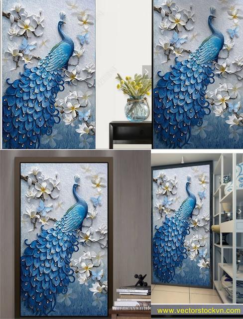 Vector Chim Công, tranh dán tường.