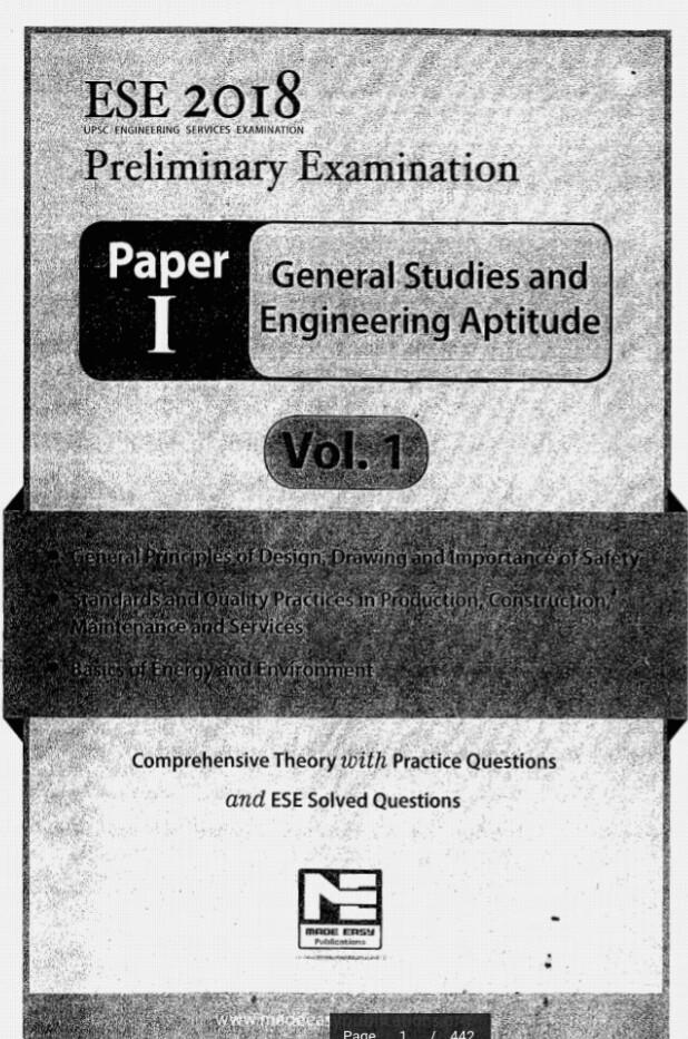 Download Made Easy ESE 2018 General Studies And Engineering Aptitude Volume-1 eBook Pdf