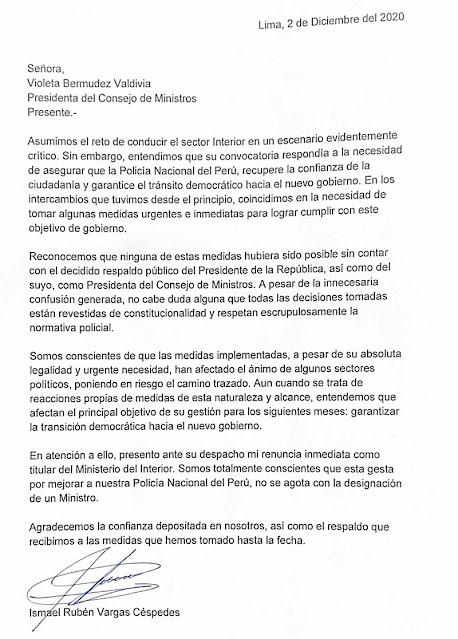 Carta de renuncia Rubén Vargas