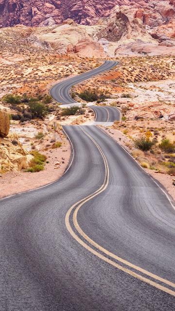 HD wallpaper Asphalt, winding, road, desert, rocks