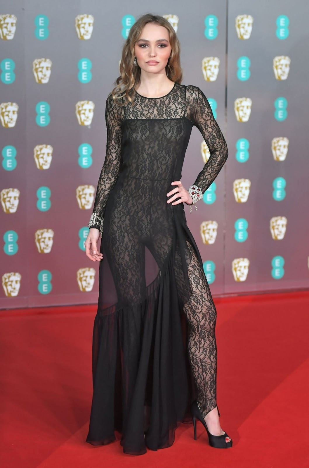 Lily Rose Depp goes braless underneath sheer jumpsuit at the 2020 BAFTAs