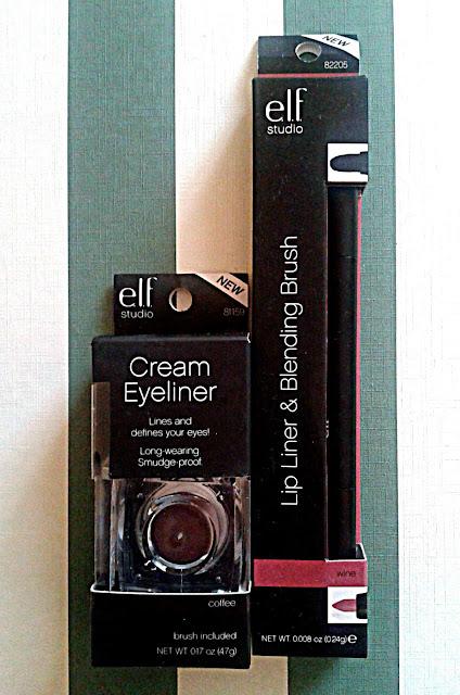 Elf Cream Eyeliner in Coffee; Elf Lip Liner and Blending Brush in Wine