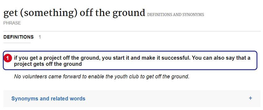 Arti Get Something Off the Ground Menurut Kamus