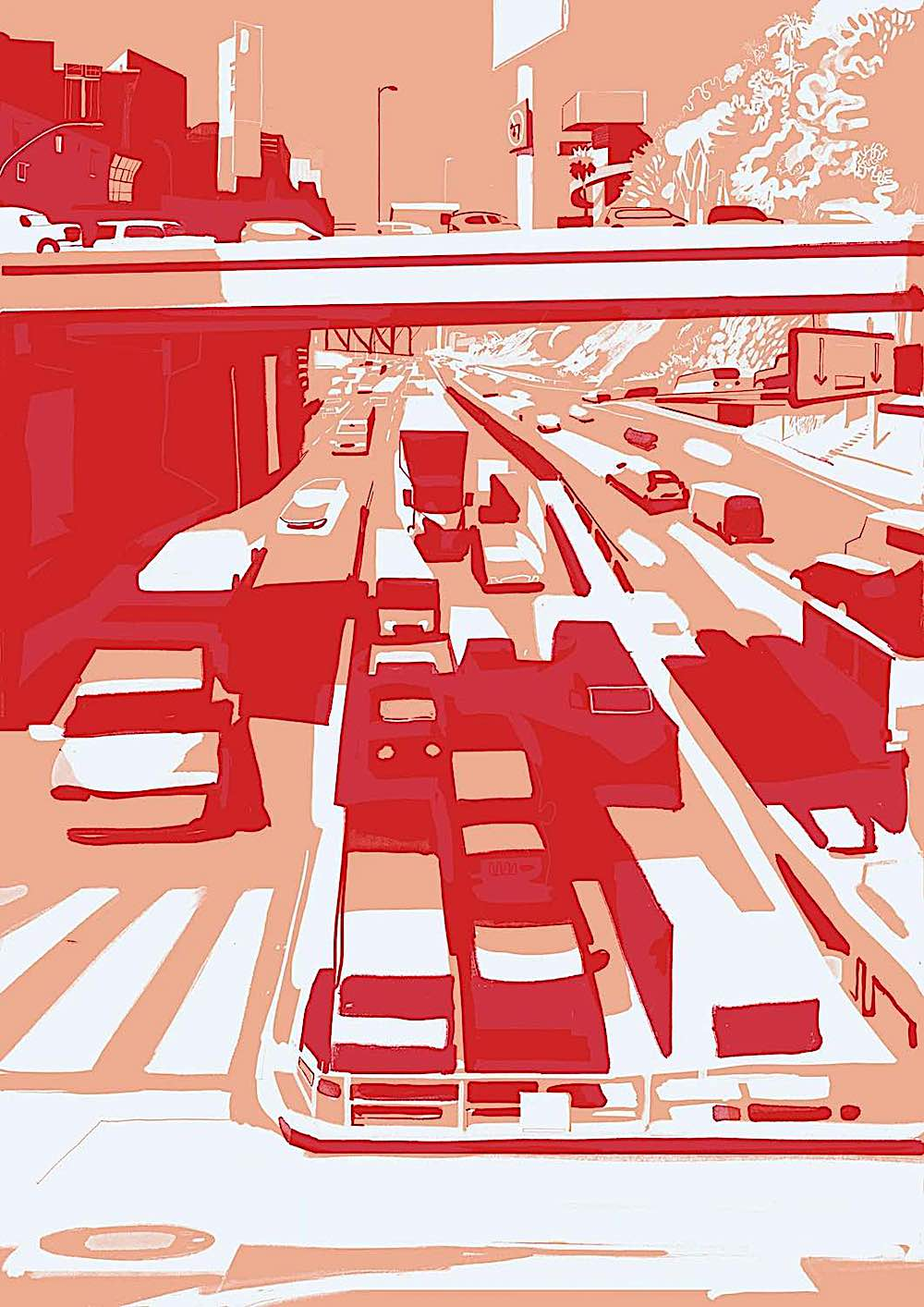 a Christoph Niemann print of busy urban traffic in reds