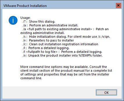 Parametry z jakimi można uruchamiać plik instalacyjny narzędzia VMware Tools