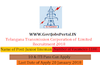 Telangana Transmission Corporation of Limited Recruitment 2018– 1100 Junior lineman