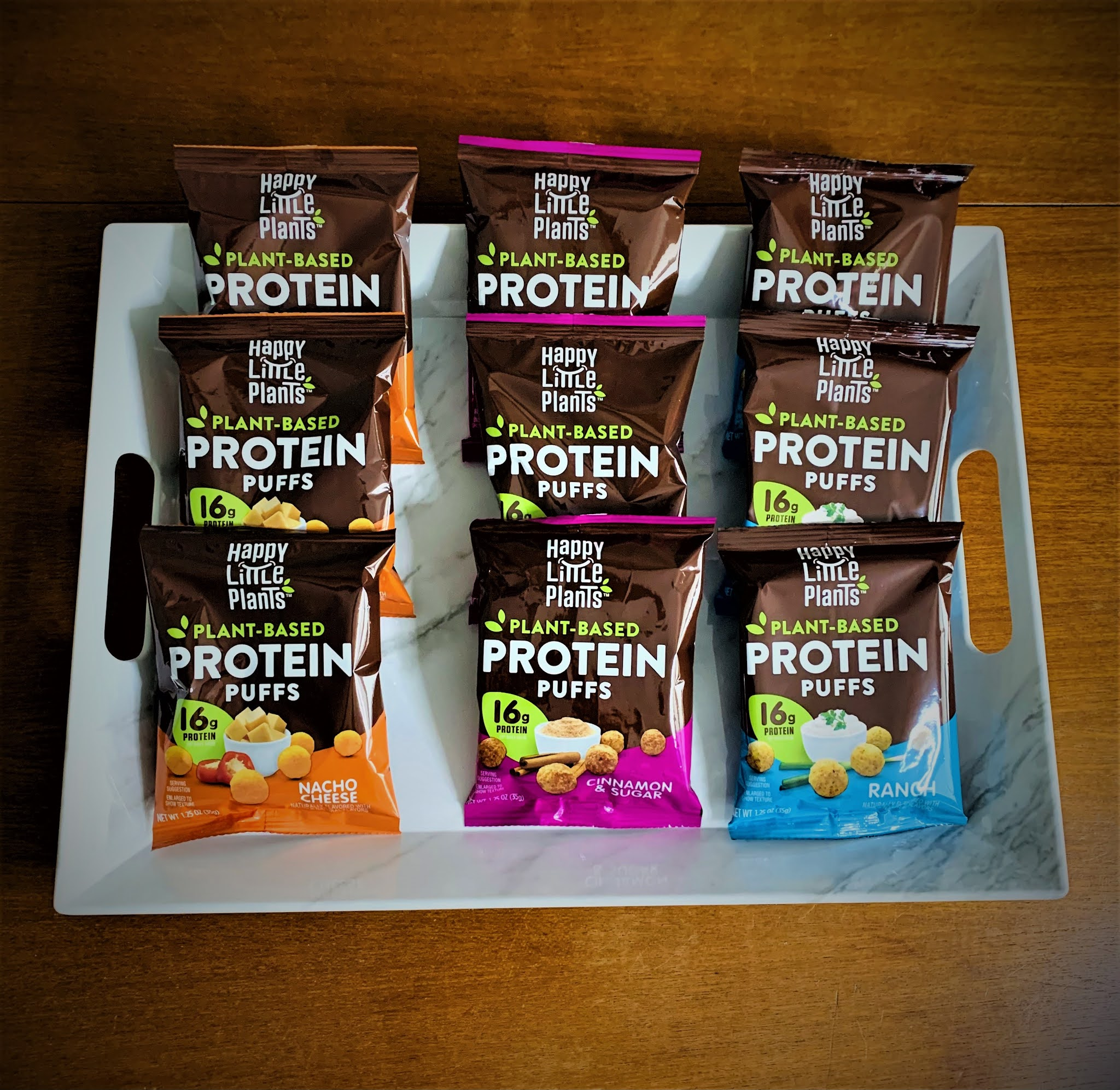 Happy Little Plants Protein Puffs in snack bags