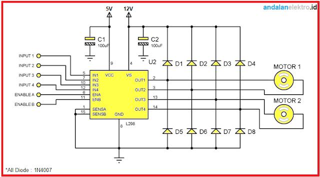 Skema rangkaian driver motor L298n