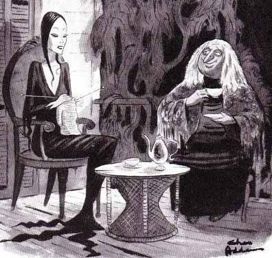 As personagens morticia e vovó tricotando em desenho