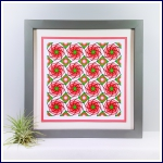 Geometric red rose repeat print and stitch on card paper pricking hand embroidery pattern for picture making.
