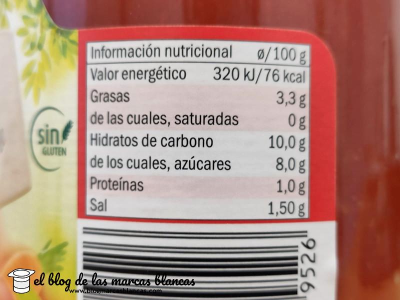 Información nutricional de la salsa de tomate al estilo casero Freshona de Lidl en el blog de las marcas blancas.