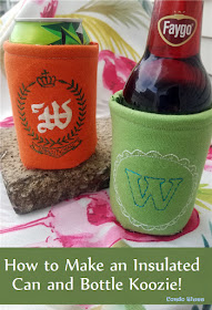 how to sew a unique embroider can beer bottle insulated sleeve
