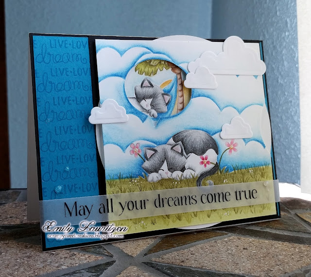 Dreaming Kitty Card by February Guest Designer Emily Lauritzen | Aloha Newton & Newton's Daydream stamp sets by Newton's Nook Designs #newtonsnook