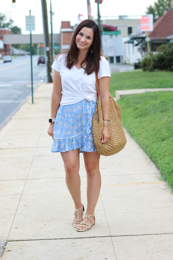 style on a budget, how to style a floral skirt, summer outfit ideas, north carolina blogger, summer style