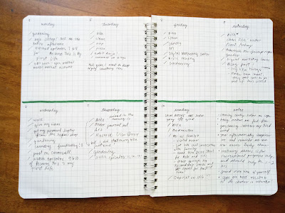 Bullet Journal weekly pages with green dividers and to-do's written in black ink