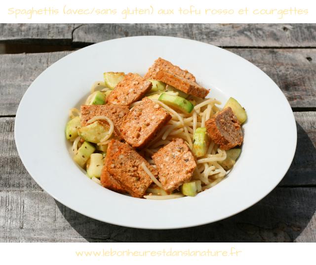 pâtes tofu rosso courgettes recette végétale vegan saine sans gluten