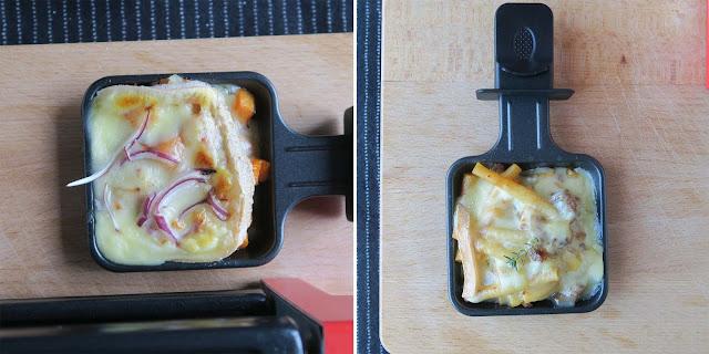 Links: Raclette Suisse mit Süßkartoffeln und roten Zwiebeln, rechts Hackfleisch-Magronen à la Raclette