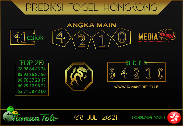 Prediksi Togel HONGKONG TAMAN TOTO 08 JULI 2021