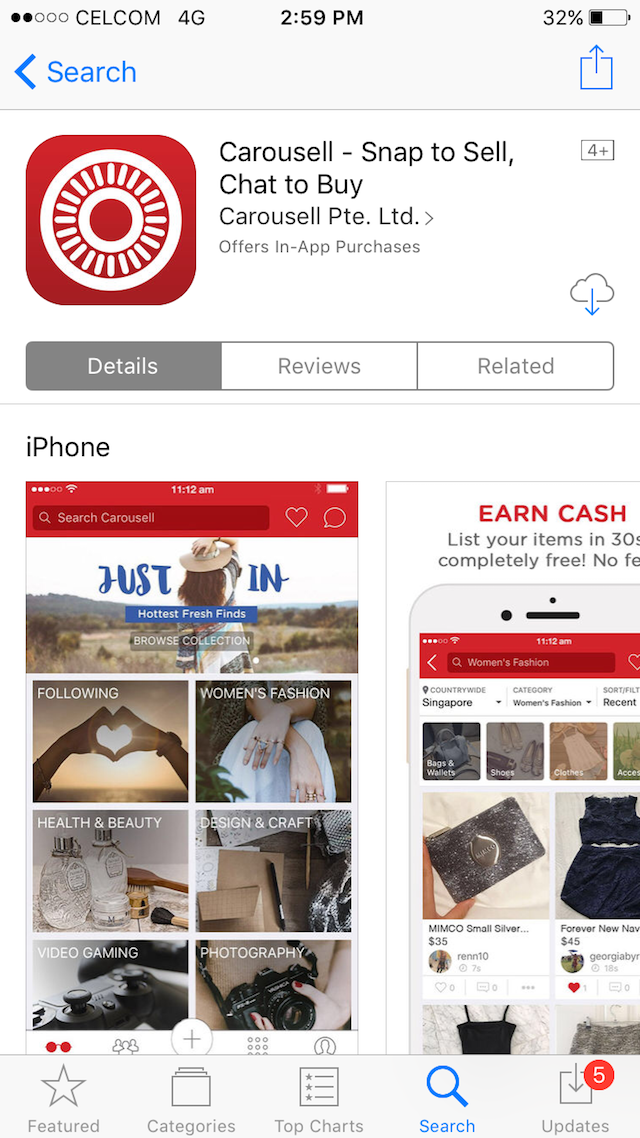 Download the mobile app for Carousell via Apple Store, or Google Play Store