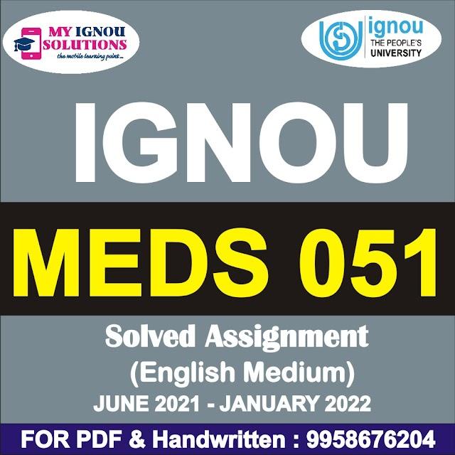 MEDS 051 Solved Assignment 2021-22