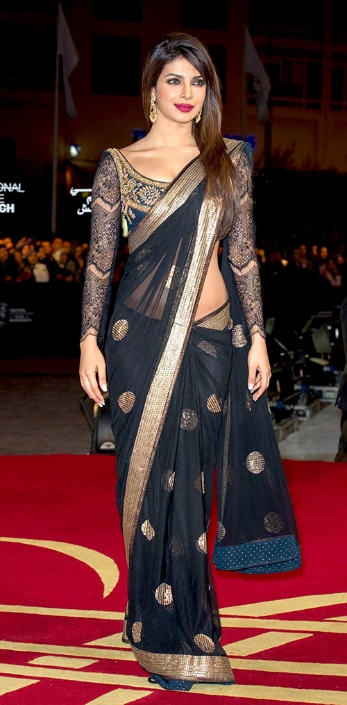 Priyanka chopra in low waist black saree with full sleeve blouse