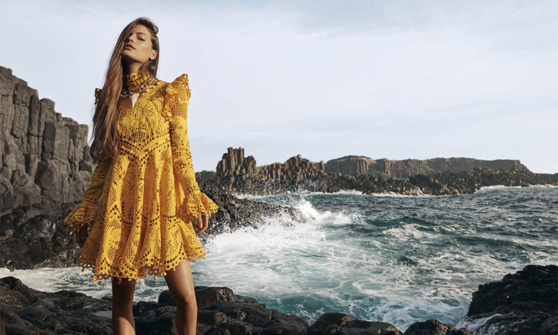 Faretta models Brightside Palm mini dress in Zimmermann spring 2020 campaign