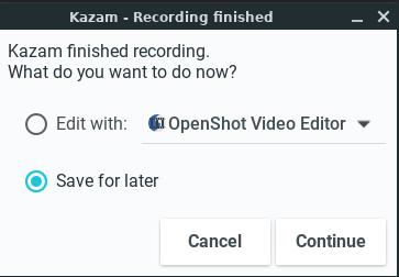 Kazam - Saving output video